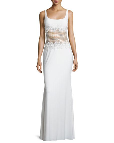 Mignon Sleeveless Sheer-Waist Gown, Ivory
