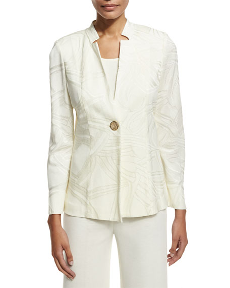 Misook Notch-Collar Ribbon-Print Jacket, Cream