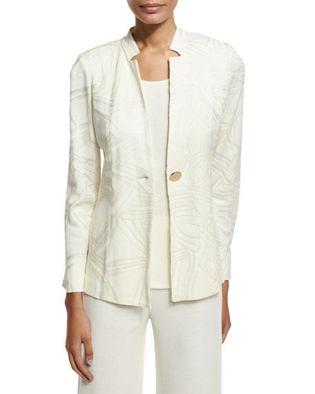 Notch-Collar Ribbon-Print Jacket, Cream, Petite