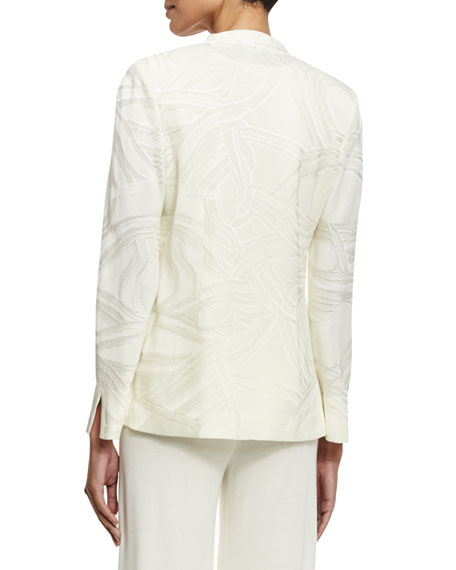 Notch-Collar Tonal-Print Jacket, Cream, Plus Size