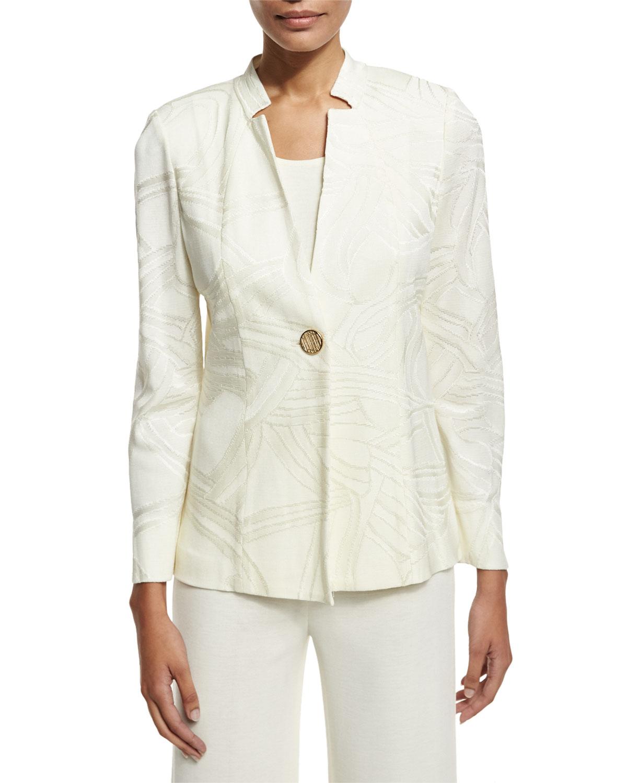181ecf3ea43 Misook Plus Size Notch-Collar Tonal-Print Jacket