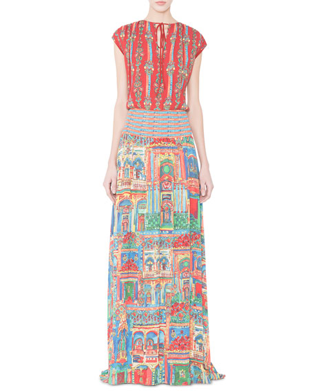 Alice + Olivia Lorelle Havana Town Tie-Neck Maxi Dress, Multicolor