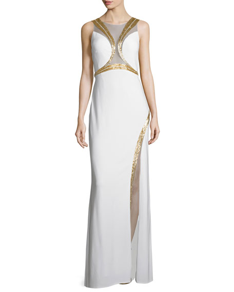 Mignon Sleeveless Gown W/Sequined Trim, Ivory/Gold
