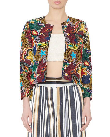 Alice + Olivia Lainey Cropped Embroidered Jacket, Multicolor