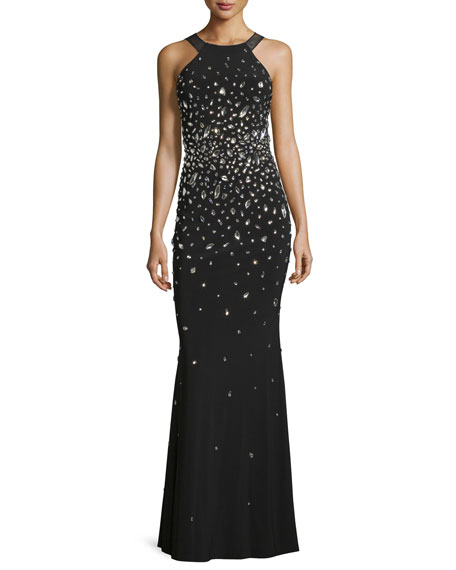 MIGNON Sleeveless Embellished Gown W/Open Back, Black
