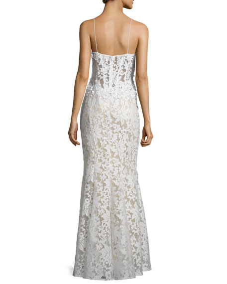 Sleeveless Corset Lace Gown, White