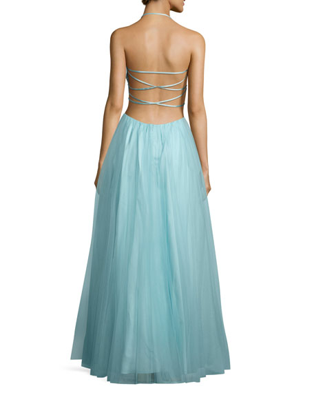 Embellished-Bodice Gown W/Strappy Back, Aqua