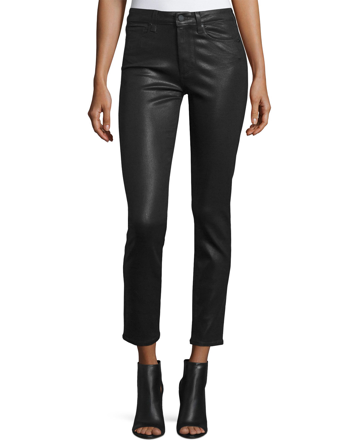 2cf6fd95971 PAIGE Hoxton Luxe-Coated Skinny Ankle Jeans