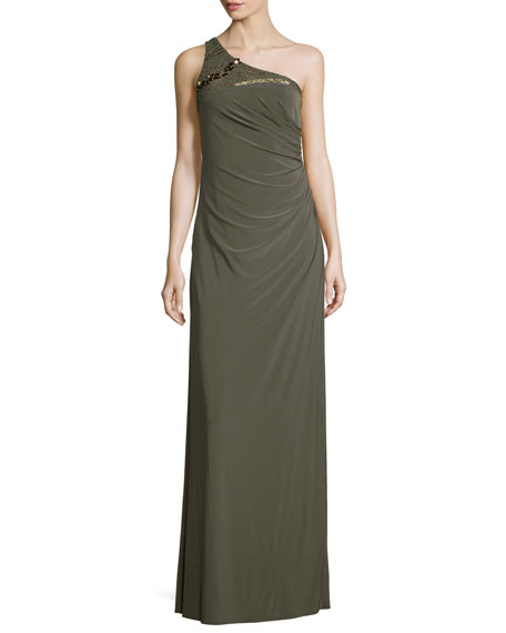 Embellished One-Shoulder Draped Gown, Olive