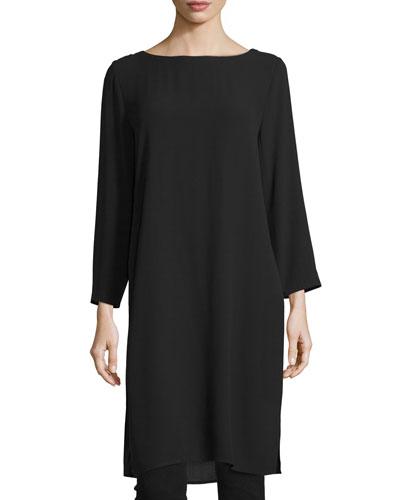 Silk Georgette Crepe Tunic, Black, Plus Size