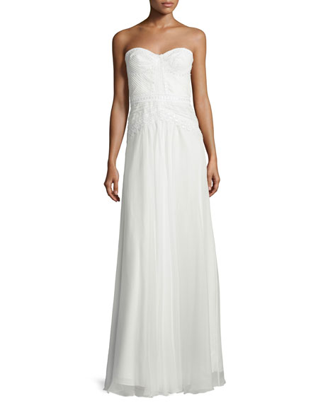 Mignon Sweetheart-Neck Lace-Trim Gown, White