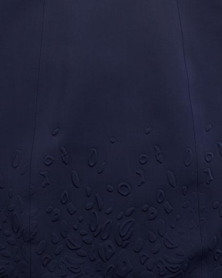 Cap-Sleeve Embossed Ponte Dress, Navy