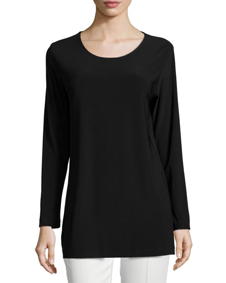 Easy Long-Sleeve Jersey Tunic, Petite