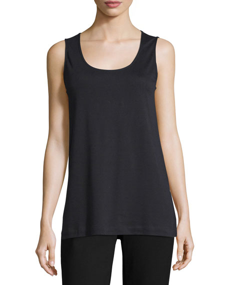 Joan Vass Soft Scoop-Neck Tank, Black