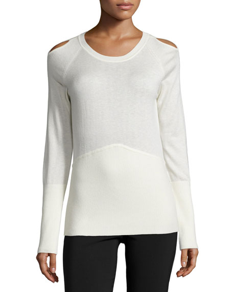 Yigal Azrouel Long-Sleeve Cold-Shoulder Sweater, Ivory