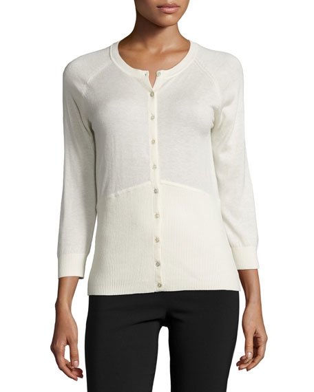 Yigal Azrouel 3/4-Sleeve Button-Front Cardigan, Ivory