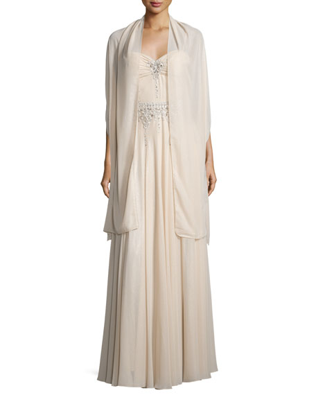 Sweetheart-Neck Embellished Gown, Champagne