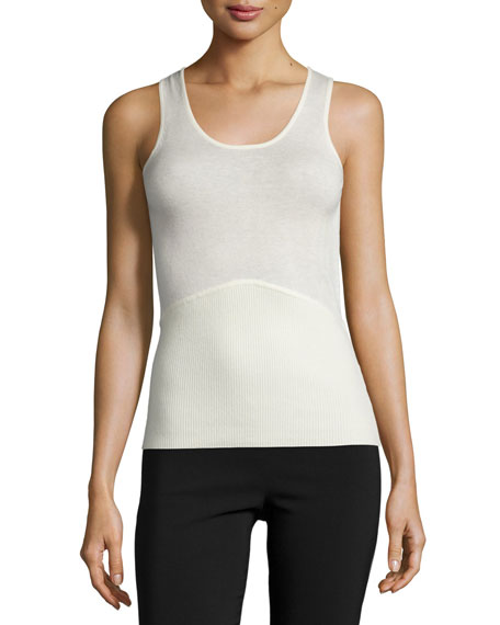 Yigal Azrouel Scoop-Neck Fitted Tank Top, Ivory