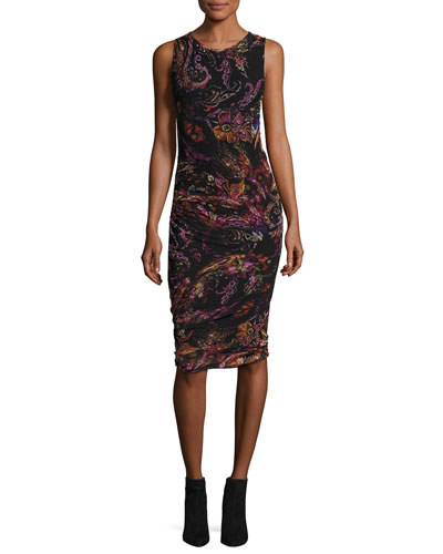 Sleeveless Paisley-Print Ruched Sheath Dress, Gardenia