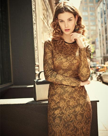 Long-Sleeve Lace-Print Cocktail Sheath Dress, Gold