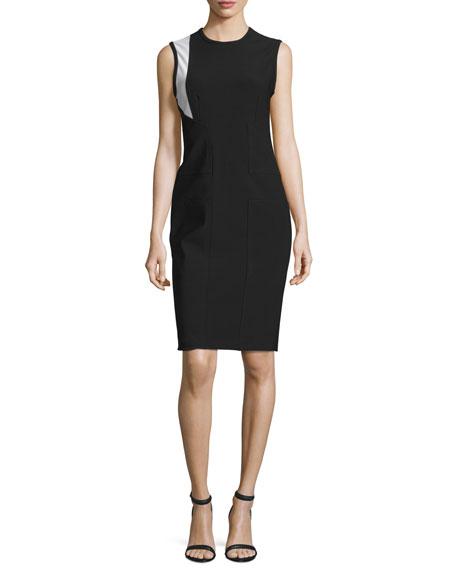 Cross Jewel-Neck Contrast-Inset Dress, Jet/Multi