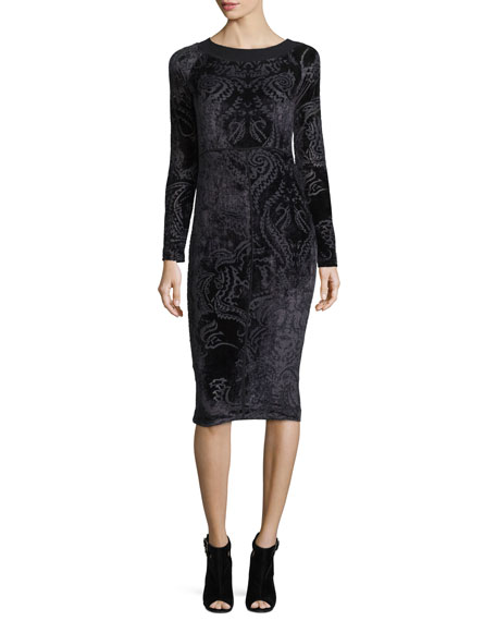 Long-Sleeve Velvet Tattoo Burnout Dress, Black