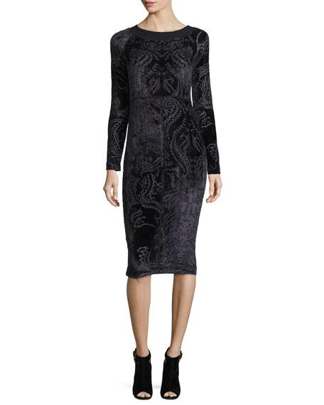 Fuzzi Long-Sleeve Velvet Tattoo Burnout Dress, Black