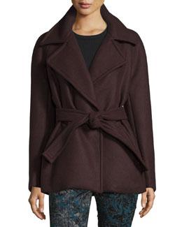 Long-Sleeve Belted Coat, Bordeaux