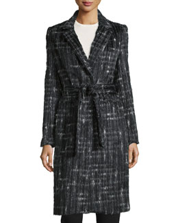 Long-Sleeve Tailored Trench Coat, Jet/Multi