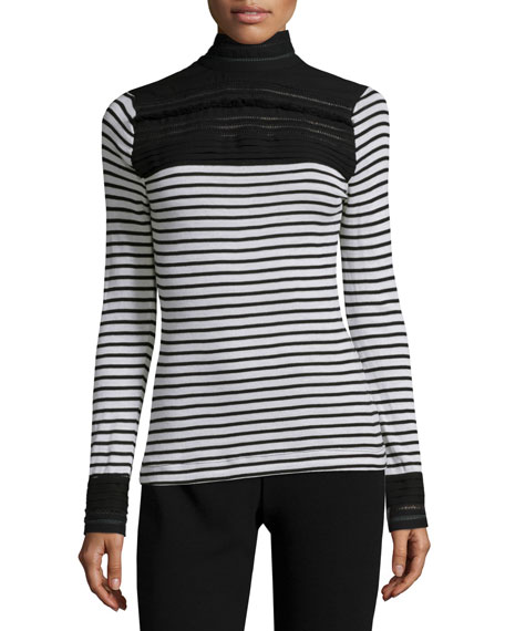 Yigal Azrouel Long-Sleeve Striped Top W/Lace Inset, Optic/Multi
