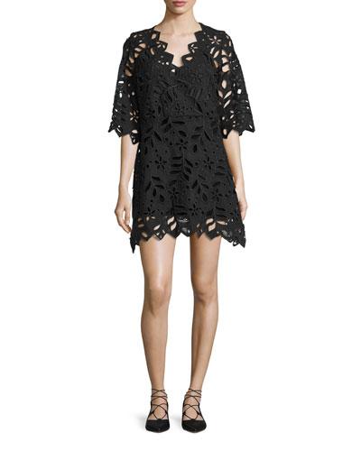 Leaf-Lace Mini Dress, Black
