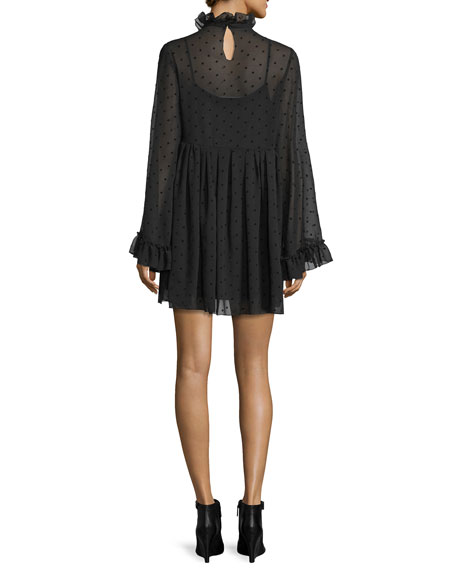 Long-Sleeve Chiffon Polka-Dot Mini Dress, Black