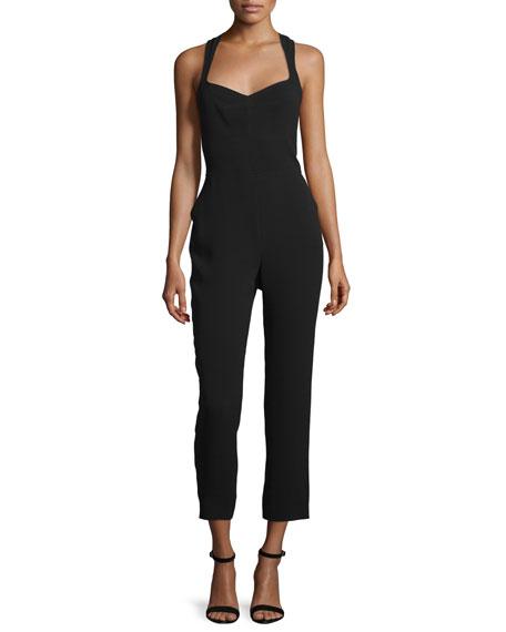 Sleeveless Cropped Jumpsuit W/Cutout, Jet Black