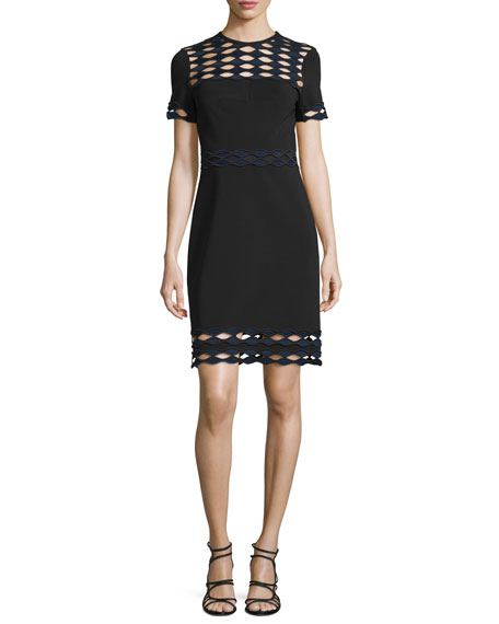 Diamond Wave-Cutout Sheath Dress, Jet/Multi
