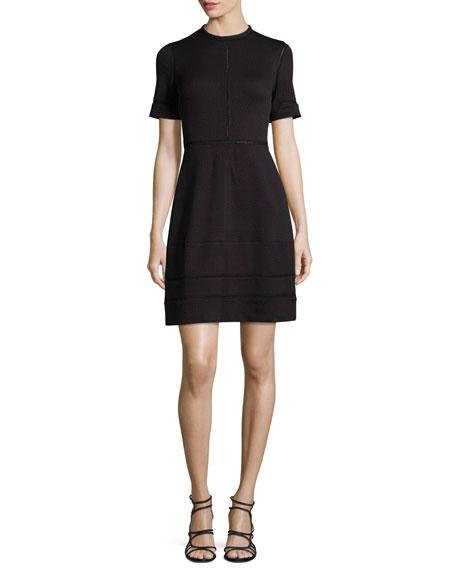 Yigal Azrouel Short-Sleeve Textured Dress, Midnight/Multi