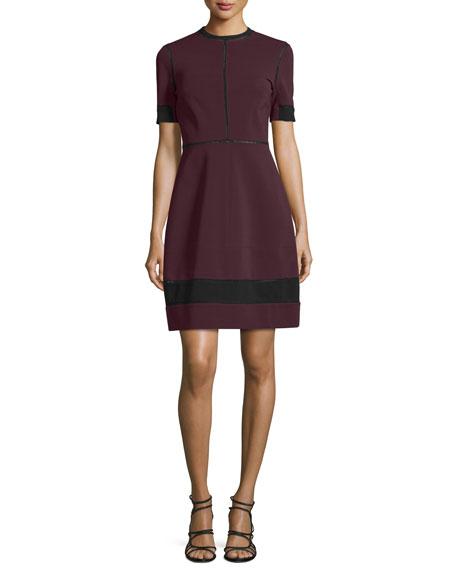 Yigal Azrouel Short-Sleeve Two-Tone Dress, Midnight/Multi
