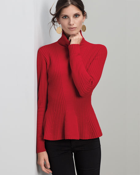 Ribbed Cashmere Turtleneck Peplum Sweater