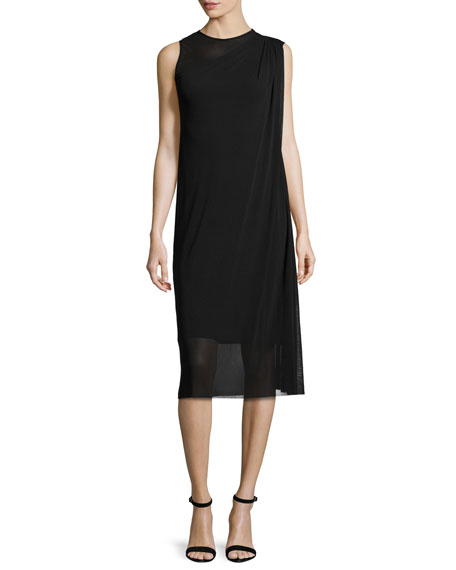 Fuzzi Sleeveless Asymmetric Draped Dress, Black