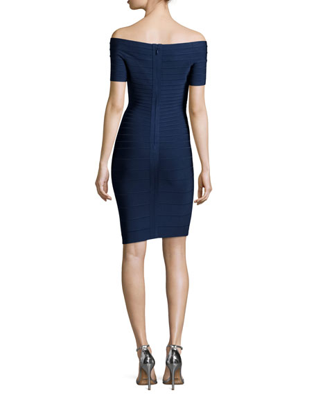 Off-The-Shoulder Bandage Dress, Classic Navy