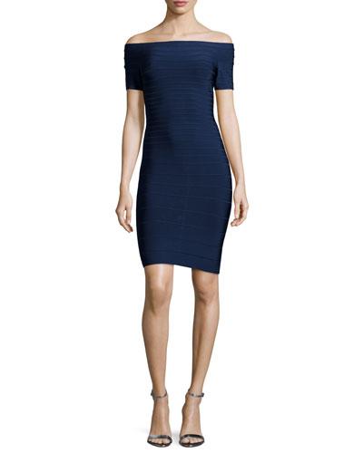 Off-The-Shoulder Bandage Dress, Classic Navy