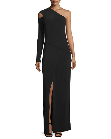 Yigal Azrouel One-Shoulder Column Gown, Jet Black