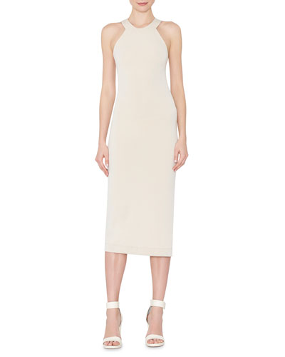 Lumi Fitted Cross-Back Midi Dress, Cream