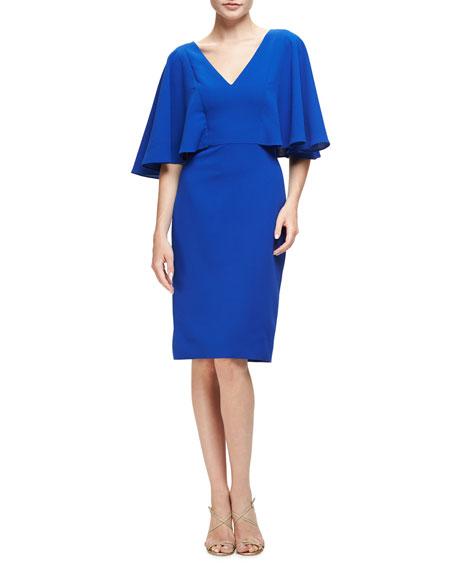 Badgley Mischka Flutter-Sleeve Crepe Cocktail Dress, Royal Blue