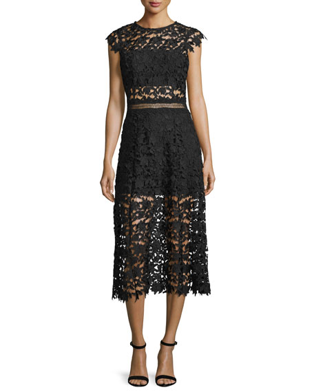 Karina Grimaldi Doriane Sleeveless Lace Midi Dress, Black