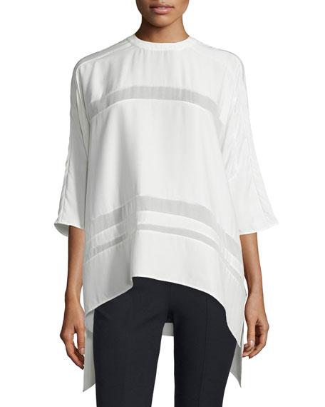 Public School Olea Sheer-Inset Silk Top, Off White