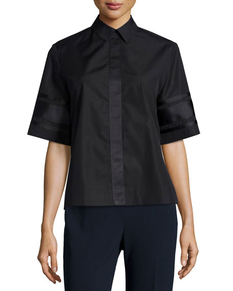 Public School Dieter Poplin Short-Sleeve Collared Top, Black