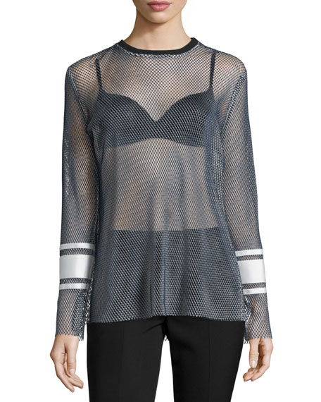 Public School Enza Long-Sleeve Mesh Top, Navy