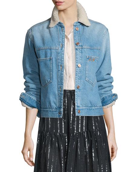 Camden Fleece Trim Denim Jacket Light Blue