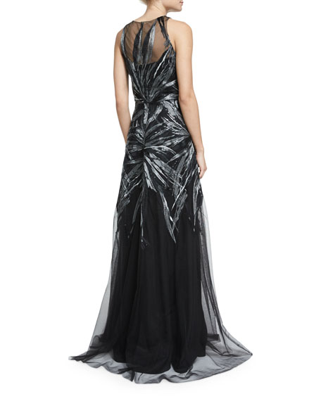Embroidered Illusion Sleeveless Gown, Black/Silver