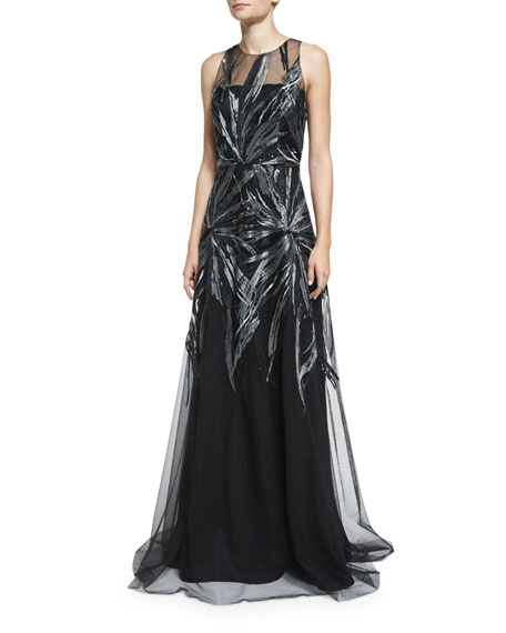 David Meister Embroidered Illusion Sleeveless Gown, Black/Silver